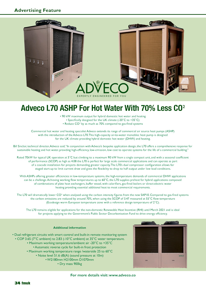 Adveco L70 ASHP For Hot Water With 70% Less CO₂