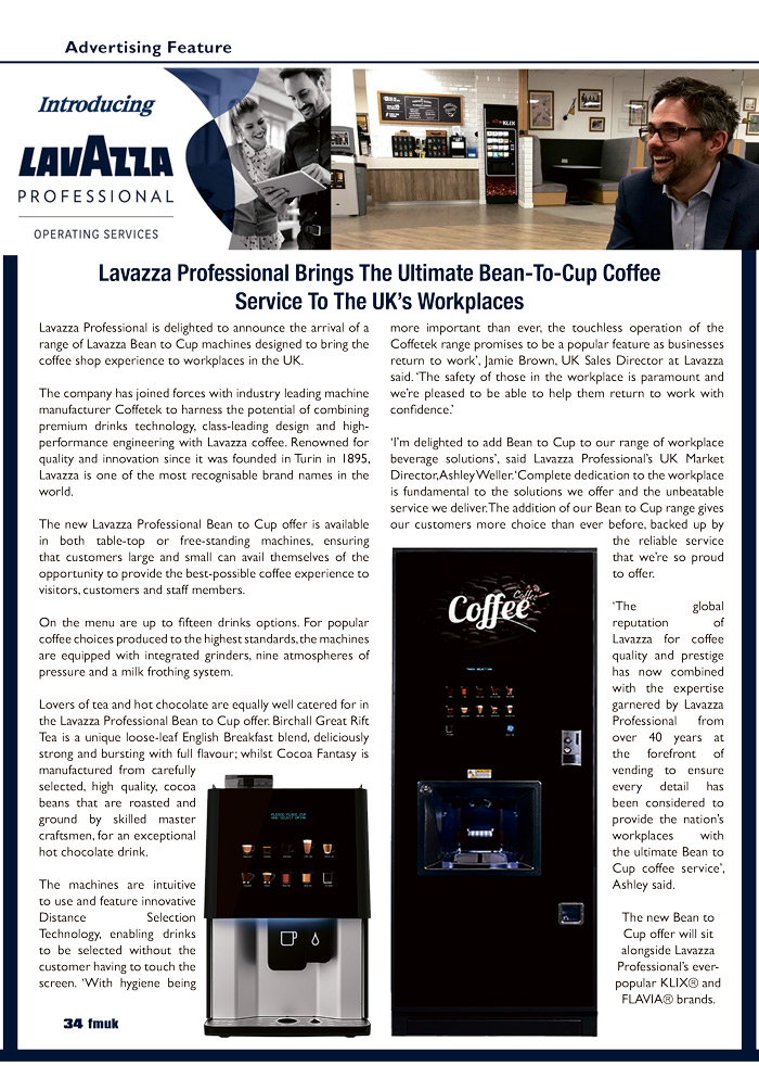 Lavazza Professional Brings The Ultimate Bean-To-Cup Coffee Service To The UK's Workplaces